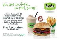 EVOS-Prado Grand Re-Opening = Free Food & More, January 21-23