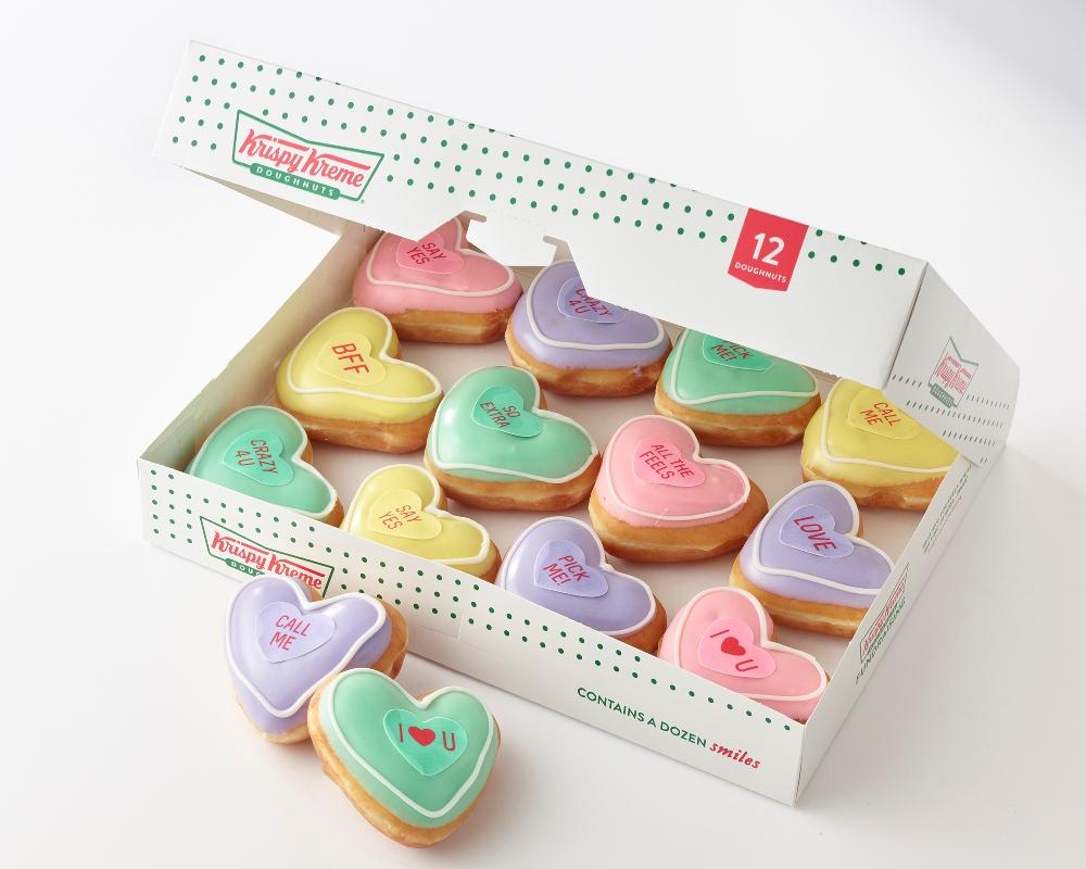 Krispy Kreme conversation heart doughnuts for Valentine's Day