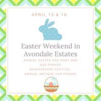Avondale Estates Easter Egg Hunt, Dog Parade, & Shakespeare Festival on April 15 & Antique Car Parade on April 16, 2017