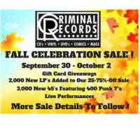 Criminal Records: Free In-Store Concerts & Fall Celebration Sale from September 30-October 2, 2016